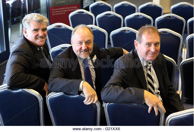 L) Doug Mahoney, West Midlands Trade  Director of UKTI, Eric Brown of UKTI, and Mike Ashton - Stock Image