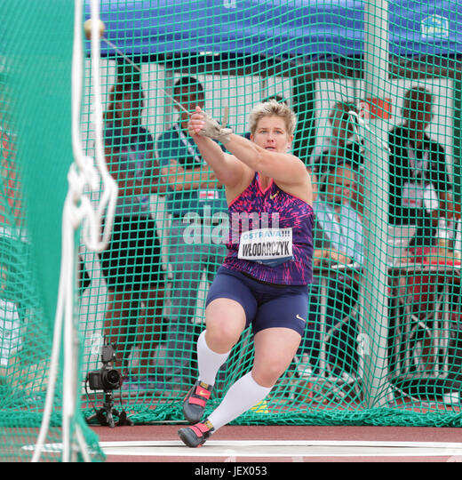 Anita Wlodarczyk of Poland won the women's hammer throw of Golden Spike Ostrava athletic meeting in Ostrava, - Stock-Bilder