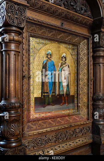 Part of the iconostasis in Uspenski Cathedral in the city of Helsinki in Finland. - Stock Image