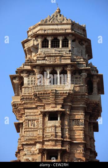 India, Rajasthan, Chittorgarh, Tower of Victory, Jaya Stambha, - Stock Image