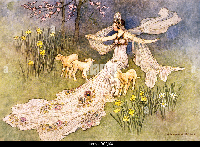 1910s ILLUSTRATION FAIRY TALE THE FAIRY QUEEN AND HER LAMBS BY WARWICK GOBLE - Stock Image