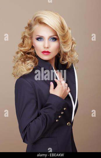 Charisma. Businesslike Woman Blonde in Blue Suit - Stock Image