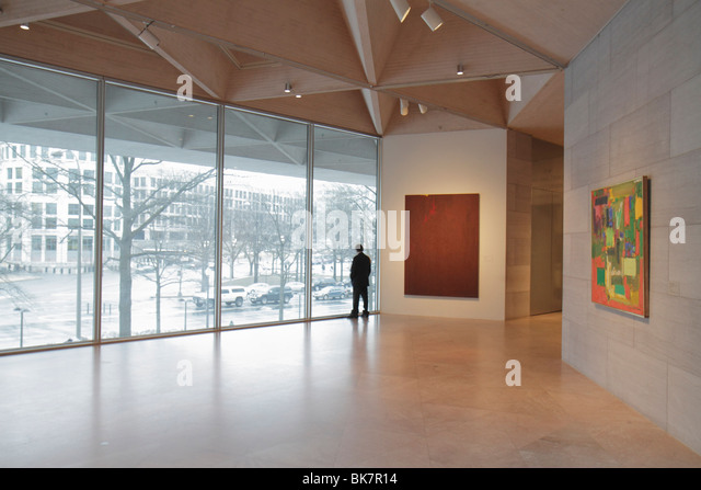 Washington DC National Mall National Gallery of Art East Building architect I. M. Pei museum exhibition modern contemporary - Stock Image