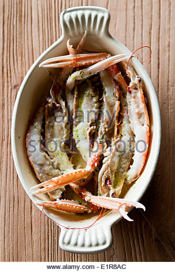 Whole roasted Dulin Bay prawns with chervil butter - Stock Image