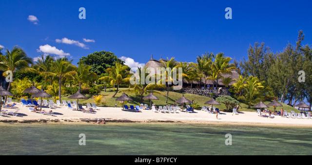 beach at La Pointe aux Canonniers Hotel Le Nannonier north east coast Mauritius Africa - Stock Image
