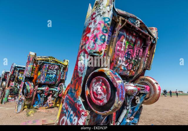 Cadillac Ranch, Amarillo .Texas.USA - Stock Image