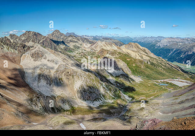 View from Piz Nair at the surrounding mountain landscape, St.Moritz, Switzerland | Aussicht vom Piz Nair nahe St.Moritz, - Stock-Bilder