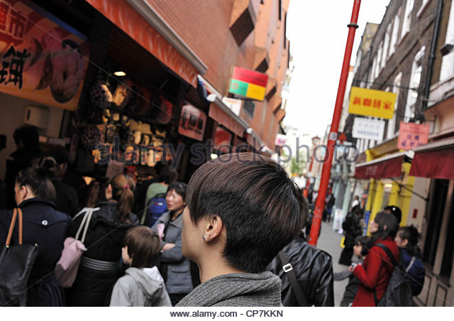 Street of Chinatown London England UK - Stock-Bilder
