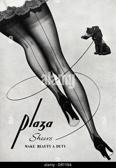 1950s advertisement advertising PLAZA stockings. Advert in womens fashion magazine circa 1952. - Stock-Bilder