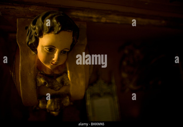 A sculpture of an angel's head at the church of Villamartin in Cadiz province, Spain, March 13, 2008. Photo/Chico - Stock Image