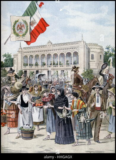 Illustration showing the Mexican Pavilion, at the Exposition Universelle of 1900 - Stock Image