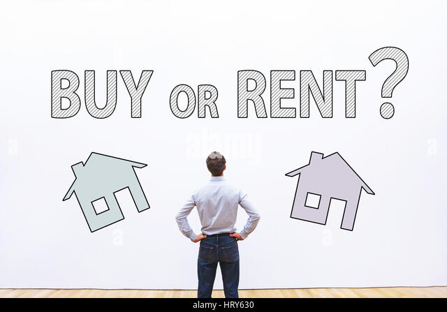 buy or rent concept, real estate question,  businessman making decision - Stock Image