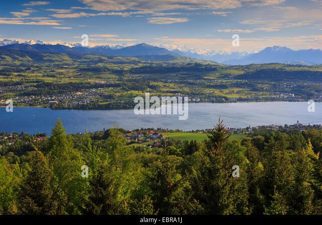 Lake Zurich and Glaernisch, view from the Pfannenstiel, Switzerland, Zuercher Oberland - Stock Image