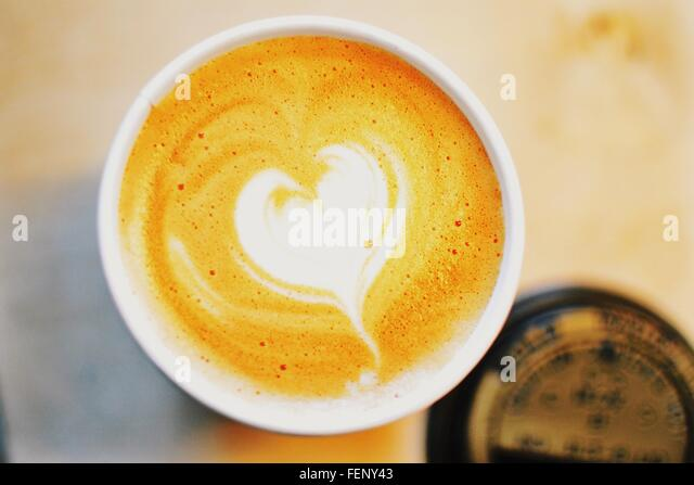 Directly Above Shot Of Cappuccino On Table - Stock Image