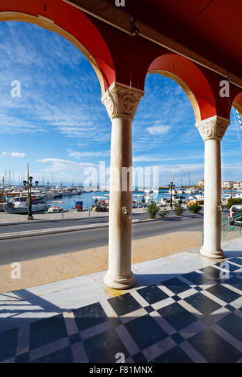 Aegina harbour as seen from the entrance to the church, Greece. - Stock Image