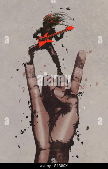 big hand in rock n roll sign with guitarist,illustration painting - Stock Image