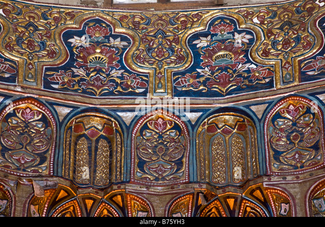 Complex of Sultan Hasan, Cairo, Egypt, detail of zone of transition of dome of mausoleum - Stock Image