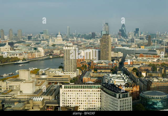 London Skyline looking east towards the City of London. UK - Stock Image