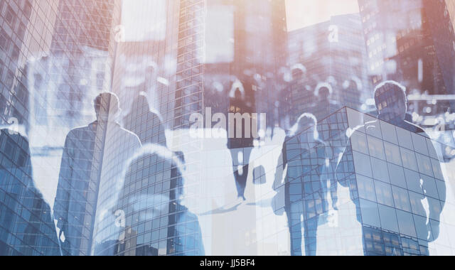 crowd of people walking on the street, double exposure abstract business background - Stock Image