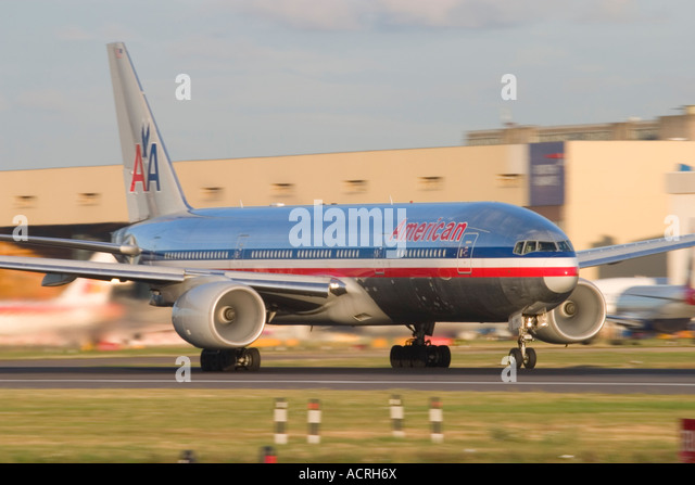 American Airlines Boeing 777 at London Heathrow Airport England UK - Stock Image