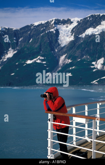 Alaska Inside Passage Cruise woman camera photographing - Stock Image