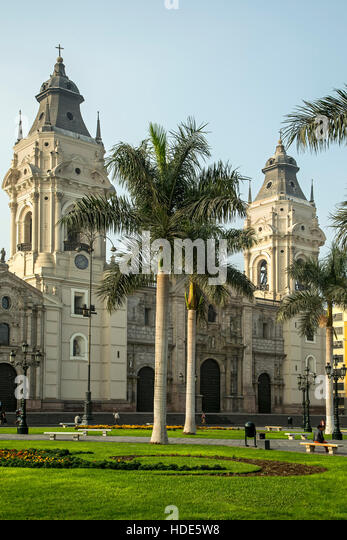 Lima Cathedral and Plaza de Armas, Lima, Peru - Stock Image