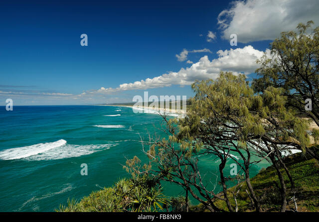 Main Beach from Point Lookout, North Stradbroke Island (Moondjan language of Noonukul tribe of Quandamooka people: - Stock Image