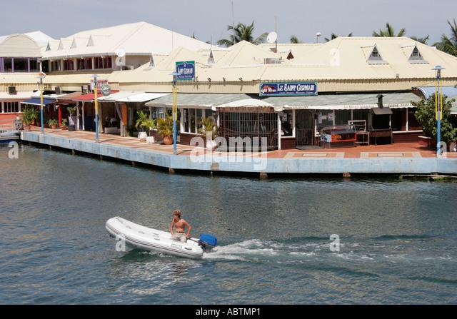 Saint Martin French Marigot Marina Royale duty free shopping dinghy - Stock Image