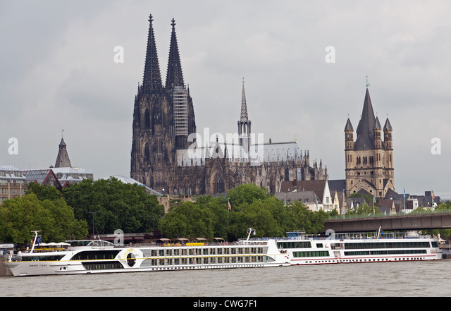 Rhine cruiser liners Cologne Germany - Stock Image
