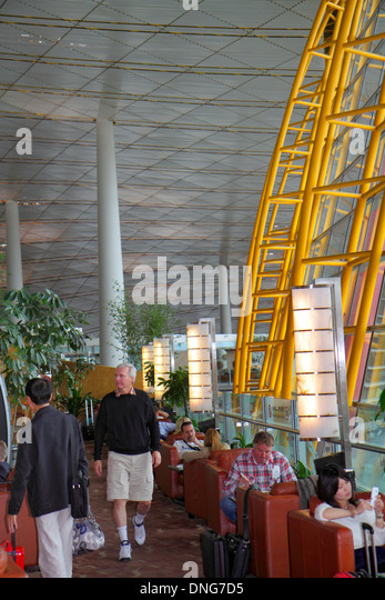 China Beijing Beijing Capital International Airport PEK Terminal 3 concourse gate area Air China Star Alliance executive - Stock Image