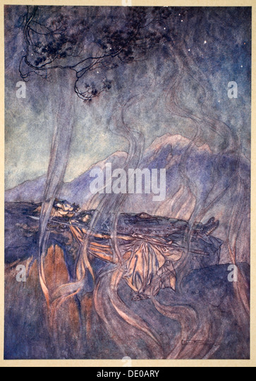 'The sleep of Brunnhilde', 1910.  Artist: Arthur Rackham - Stock Image