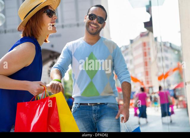 Tourists in Munich Marienplatz, Munich, Germany - Stock Image