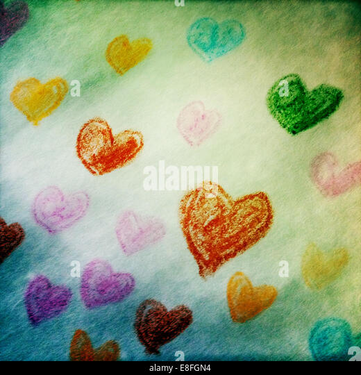 USA, New York State, New York City, Colored hearts on paper - Stock-Bilder