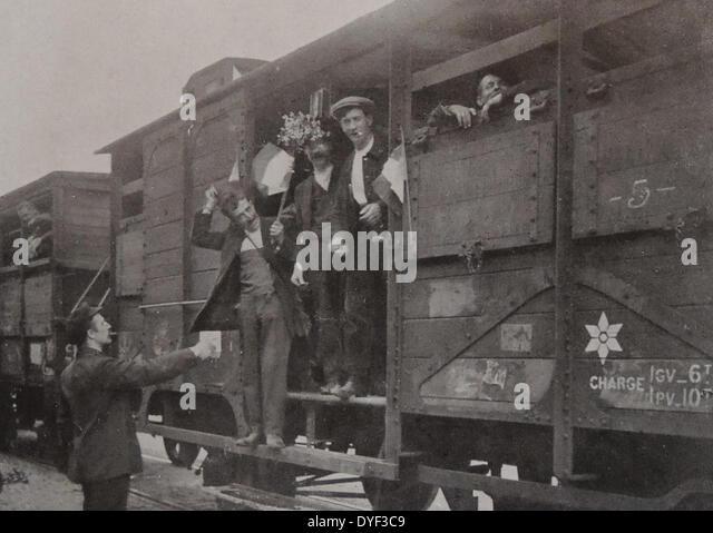 Patriotic French rail workers. - Stock-Bilder