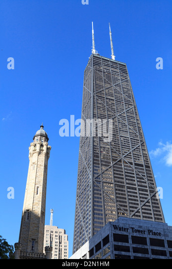 Chicago Water Tower and Hancock Center, Chicago, Illinois, United States of America, North America - Stock Image