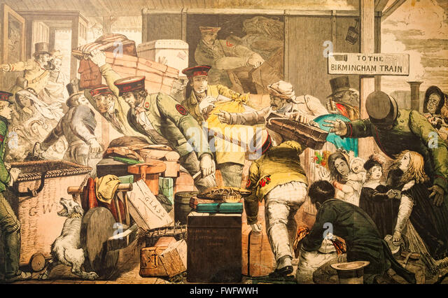 Cartoon depicting the chaos of transfering goods and passengers when UK trains ran on different guage tracks. - Stock Image