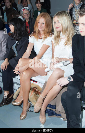 Front row celebrities at London Fashion Week - Stock Image