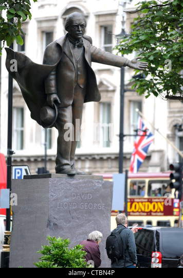 David Lloyd George statue, Prime Minister David Lloyd George, London, Britain, UK - Stock Image