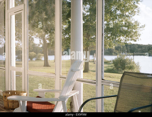Afternoon Light in a screened in porch at Spocott Farm on September 13, 2013 in Cambridge Maryland - Stock Image