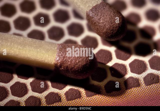 Matchstick tip extreme macro closeup - Stock Image
