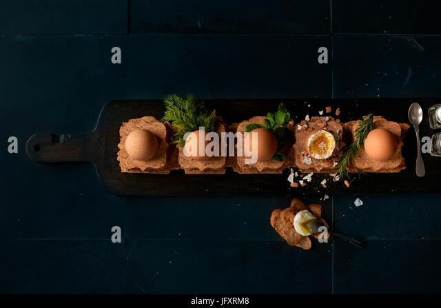 soft boiled eggs - Stock Image