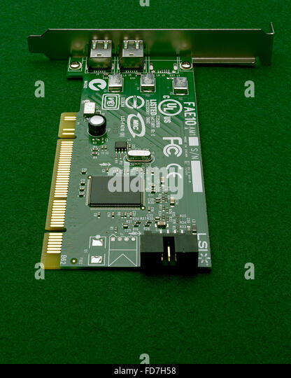 PCI computer expansion card for Firewire connection - Stock Image