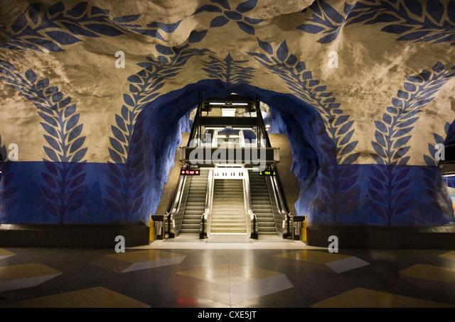 Artwork in Kungstradgarden subway station, Stockholm, Sweden, Scandinavia, Europe - Stock Image