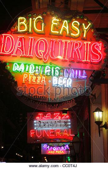 Louisiana New Orleans French Quarter Bourbon Street Big Easy Daiquiris bar restaurant business nightlife alcoholic - Stock Image