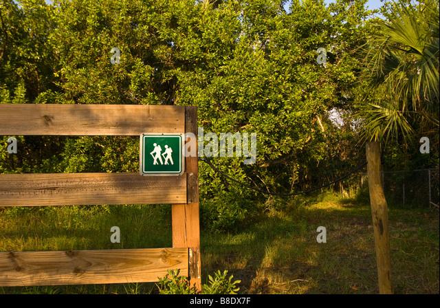 Florida Hiking Trailhead marker Rookery Bay National Estuarine Research Reserve southwest Florida - Stock Image