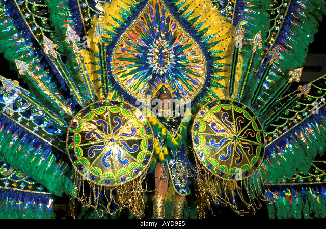 Trinidad Carnival Woman in colorful costume - Stock Image
