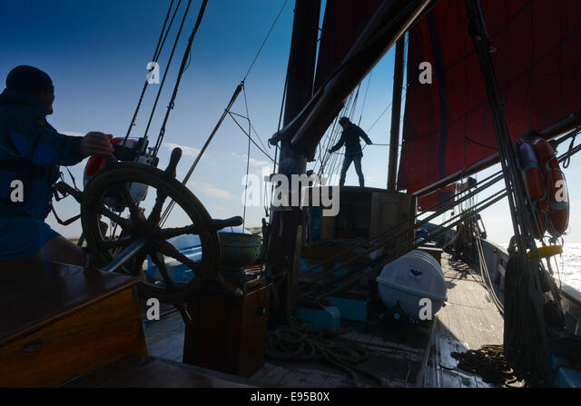 Sailing on the Provident a former Brixham trawler - Stock Image