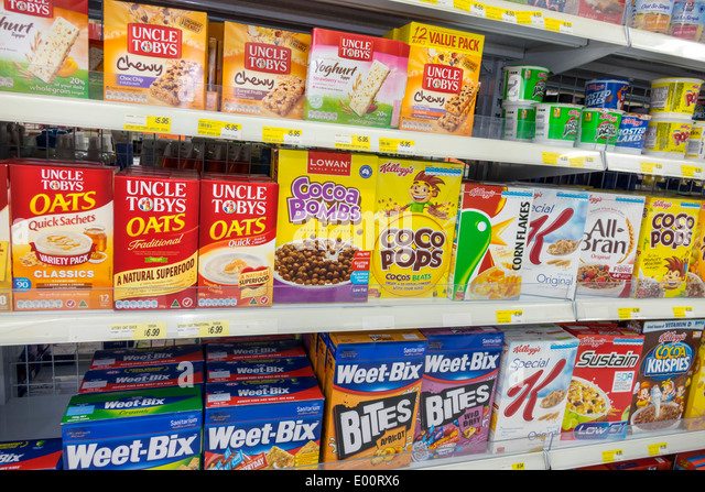 Sydney Australia NSW New South Wales Haymarket convenience store shopping shelves sale food cereal Weet-Bix competing - Stock Image