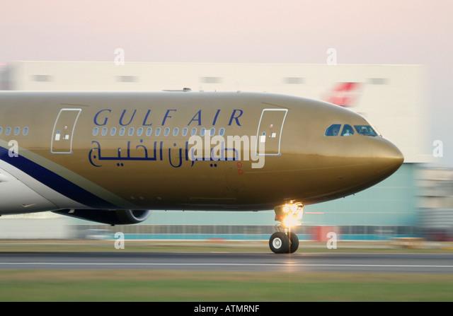 Gulf Air Airbus A340-313X at London Heathrow Airport - Stock Image
