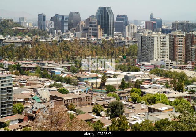 Santiago Chile Cerro San Cristobal Estacion Funicular Bellavista downtown view from aerial overlook city skyline - Stock Image